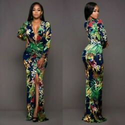 Women Sexy Slim Printing Long sleeve Maxi Dress Ball Gown Party Evening Dresses $23.20