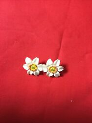 Double Vintage Narcissus Flower Brooch 1950's 60's GBP 9.50