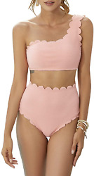 2 Piece One Shoulder Swimsuits for Women High Waisted Bottom Scalloped Bikini S $22.46