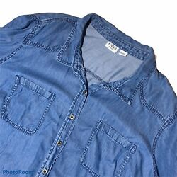 Cato Womens Plus 3X Denim Shirt Button Front Long Sleeve Tencel Classic Casual $19.97