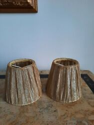 Lot of 2 Vintage Small Gold Clip On Lamp Shades $18.00