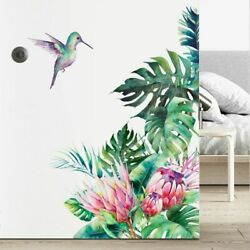 Wall Sticker Decor Decal Tropical Leaves Flowers Birds Living Room Home Stickers $17.99