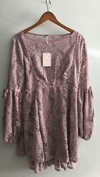 Free People Ruby Dress Lace Crochet Size Medium Lilac Lavender New With Tags $45.00