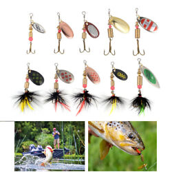 10Pcs Spinner Crankbait Rooster Tail Bass Trout Fishing Lure Lot Gear Tackle Box $11.29