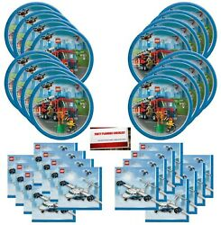 Lego City Happy Birthday Party Supplies Bundle Pack for 16 Guests Plus Party... $18.13
