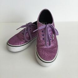 Vans quot;Off The Wallquot; Girls Sneakers Lace Up Purple Glitter Size 1.5 $19.99