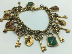 VICTORIAN ANTIQUE SEED PEARL JADE GOLD SLIDE CHARM FILIGREE KEY BRACELET $148.00