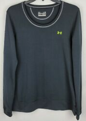 Under Armour UA Womens Large Black All Season Gear Fitted Spellout Sleeve Shirt $20.76