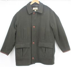 LL Bean USA Made Vintage Wool Coat Large Green Jacket Hunting Lined Thinsulate $69.97