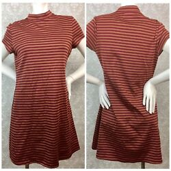 Free People Beach Large Womens On the Line Red Striped Ponte Dress $39.99