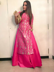 Bollywood Designer Celebrity Dresses Beautiful Pink Silk Kurta Skirt Women Dress