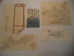 Five vintage and antique Japanese Woodblock Prints Mixed Lot Nature Still Life $21.95