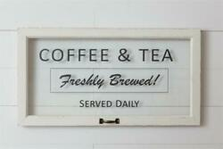 New Farmhouse Shabby Chic Vintage White COFFEE amp; TEA WINDOW WALL HANGING Sign $29.95