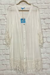 Large XL New White Cotton Gauze Lace Beach Cover Up Top Dress Sundress Duster $39.99