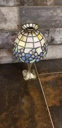 PartyLite Hydrangea Tealight Lamp Stained Glass Style P7790 FREE SHIPPING $35.00