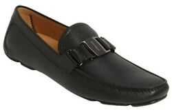 NEW SALVATORE FERRAGAMO SARDEGNA Black Pebbled Leather Driving Shoes. Size 9.5 $369.00