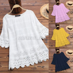 Women Floral Hollow Out Half Sleeve Lace O Neck Shirt Top Plus Solid Long Blouse $15.72