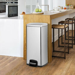 Oshion 30L Step Trash Can 8 Gallon Garbage Automatic Stainless Steel Kitchen Bin $71.39