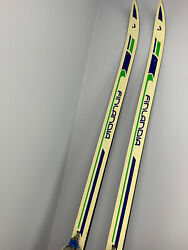 Vintage Finlandia Long Step Cross Country Skis Blue amp; Green Winter Chalet Decor $25.00