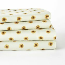 Sunflower Bedding Sheet Set with Coordinating Pillow Cases 4 Pieces $35.98