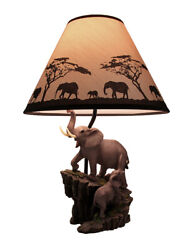Elephant and Baby on Expedition Sculptural Table Lamp with Decorative Shade $75.45