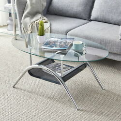 Modern Oval Round Glass Coffee Table Shelf End Side Table Living Room Furniture $123.99