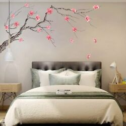 Chinese Style Pink Blossom Wall Stickers Tree Branch Wall Decals Home Decor PVC $9.99