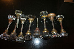 14 Vintage Crystal Glass Doorknobs 1 Brass With Spindles $125.00