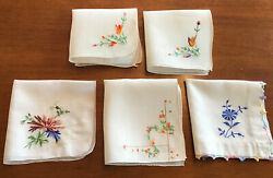 Five Vintage Small Linen amp; Cotton Floral Embroidered Handkerchiefs $13.00