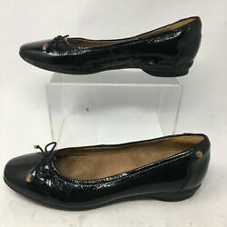 Clarks Womens 6 M Casual Bow Ballet Flats Slip On Shoes Black Patent Leather $25.99