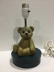 Rare 1990#x27;s Carved wood style Teddy Bear Lamp on round wooden style box Must See $49.95