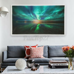 Teal Northern Lights Canvas Prints Painting Picture Wall Home Art Decor Unframed $11.42