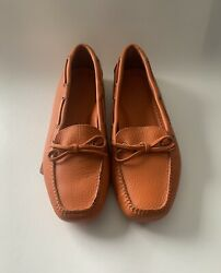 LL Bean Signature Leather Driving Moccasins Womens size 7.5 Clementine $65.00