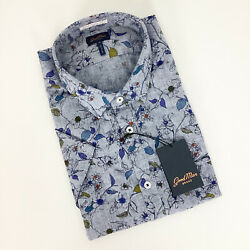 Good Man Chambray Floral Short Sleeve Button Down XL New $44.99