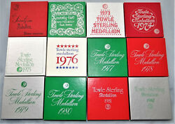 Towle 12 Days Of Christmas Medallion Ornament Sterling Silver Complete Set 1971 $509.99