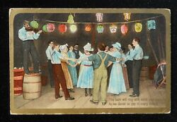 1909 Barn Square Dance Japanese Lights Fred A. Fodde Post Card Fiddle St. Louis $4.82