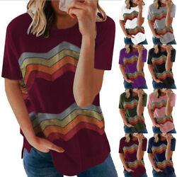 Summer Women Casual Short Sleeve T Shirt V Neck Striped Tops Loose Blouse Tunic $14.39