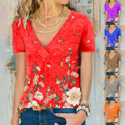 Summer Women Short Sleeve V Neck T Shirt Casual Floral Blouse Loose Tunic Tops $13.99