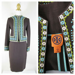 Tory Burch Brown Blue Embroidered Embellished Skirt Suit Set Size 2 Formal $74.95