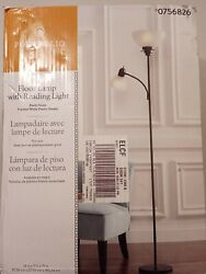 New Portfolio 71 in Black Torchiere with Reading Light Floor Lamp $31.00