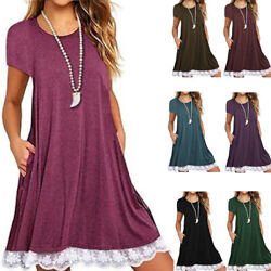 Summer Women Lace Casual Short Sleeve T Shirt V Neck Solid Size Plus Slip Dress $13.93