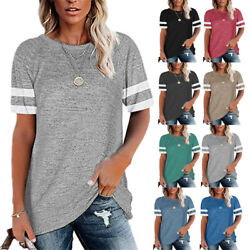 Summer Women Casual Loose T Shirt Crew Neck Short Sleeve Blouse Stripe Solid Top $15.99