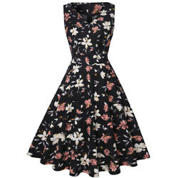 Women Sleeveless V Neck Floral Casual Summer Dress Party Cocktail Swing Dresses $13.99