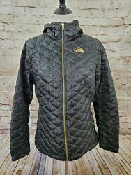 The North Face Thermoball Jacket Women Large Black Gold Hood $92.99