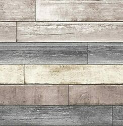 Real Wood Look Wallpaper Peel amp; Stick Reclaimed Plank Natural Wall Easy Install $34.25