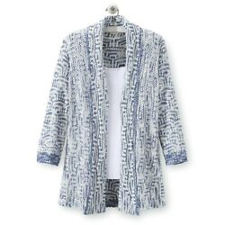 North Style Women Plus Novelty Stitch Cascade Cardigan 2X NWOT Blue amp; White $36.99