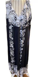 New Directions 2X Maxi Dress Long Plus V Neck Stretchy black and white $13.99