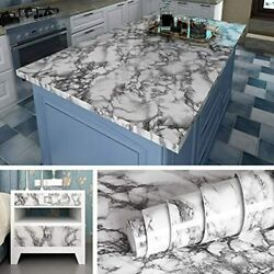 Livelynine Marble Wall Paper Kitchen Countertop Peel And Stick Wallpaper Self $15.39