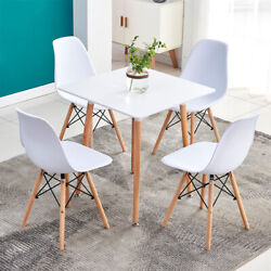 5 Piece Dining Table Sets 4Pcs Chairs Wooden Legs Kitchen Room Furniture White $223.99