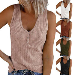 Summer Women Casual Loose T Shirt V Neck Sleeveless Button Blouse Solid Tank Top $14.85